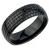 Ring Edelstahl schwarz Matt 8mm breit Reifen Autoreifen Tire - Größe 57 (18.1)