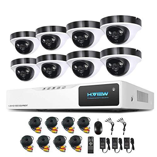 1080P Überwachungskamera System H.View Security System 8CH AHD DVR ohne Festplatte und 8 Außen 1080P Dome Überwachungskamera Set für Innen und Außen Bewegungsmelder IR Nachtsicht - Dvr Security System