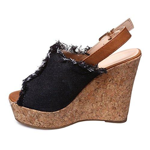 La Modeuse - Sandales compensées en jeans Noir