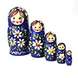 Heka Naturals Matryoshka Russian Nesting Dolls Hand Made in Russia 5 pieces 12 cm Wooden Gift Toy (5 Dolls, 12 cm (Polyanka))