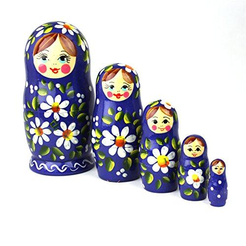 Heka Naturals Matroschka Russische Puppen Babushka Erdbeere Babuschka Hand Made in Russland Holz Geschenk Spielzeug (5 Stück 12 cm Polyanka)