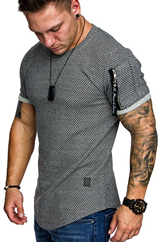 Amaci&Sons Oversize Herren Strukturmuster T-Shirt Cargo-Style Crew Neck Rundhals Basic Shirt 6037 Anthrazit M