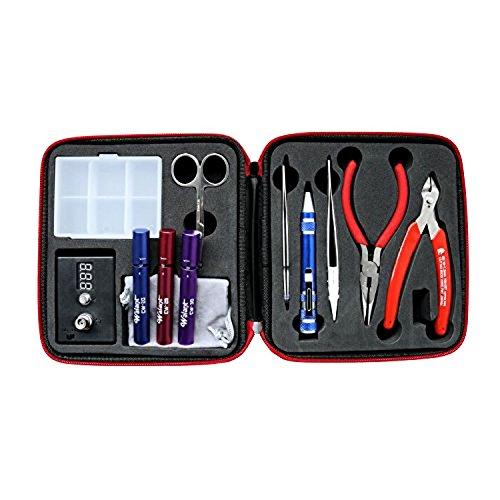 Coil Master DIY Kit Spule Wicklung Jig Werkzeug-Sets, Krummsäbel Pinzette aus rostfreiem Stahl + Keramik-Pinzette + 8-in-1-Multi-Tool pen + Spitzzange + Seitenschneider + Kunststoff Box + 3 IN 1 DIY Spule Jig + Widerstandsspannungsprüfer + Schere (Diy Box Mod)