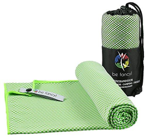 be fancy! Bambus Reisehandtuch Outdoor L in Grün - Leicht, saugfähig, antibakteriell & schnelltrocknend - Das nachhaltige Mikrofaserhandtuch für Reise, Sport, Wandern, Camping (Mikrofaser Saugfähig)