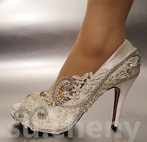 JINGXINSTORE Perla merletto di seta punta aperta di cristallo scarpe matrimonio sposa White
