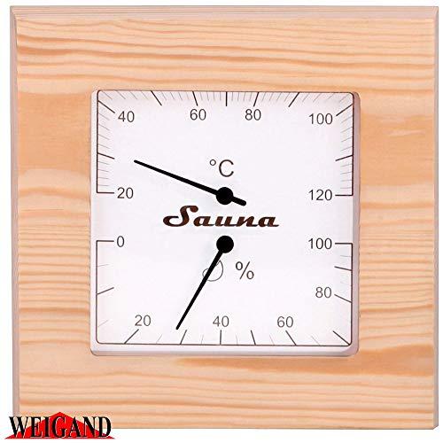Finnline Weigand Sauna Klimamesser NELIKULMIO I ca. 17,6 x 17,6 cm großes Thermometer und Hygrometer für die Sauna und Infrarotkabine in schönem Holzrahmen I Nachjustierbar I Saunazubehör I 225thp