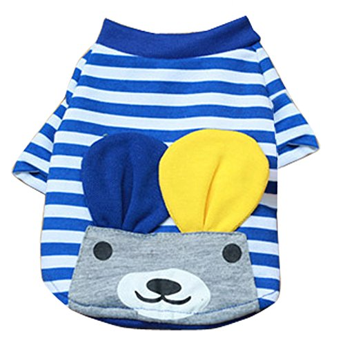 Imported Pet Puppy Small Striped Dog Cat Vest T-Shirt Summer Apparel Clothes Blue M