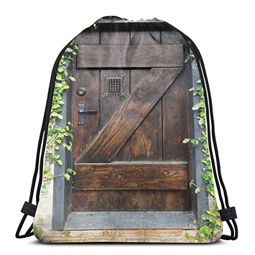 BBABYY Printed Drawstring Backpacks Bags,Small Spanish Style Dark Stained Wood Door Secret Garden with Grated Window Art Picture,Adjustable String Closure