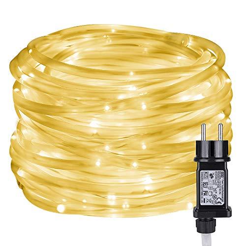 LE 100er 10M LED Lichterschlauch, IP65 Wasserfest, 8 Lichtmodi mit Merk-Funktion, ideal für Außen, Innen, Deko, Weihnachtsbeleuchtung, Kinderzimmer, Balkon usw. Warmweiß