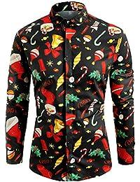 LuckyGirls Camisas De Navidad para Hombre Negocio Camisetas De Manga Larga  Estampado De Regalo Elementos Casuales 5d348c783af83