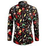 Batnott Herren Weihnachten Shirt Weihnachtsshirt Weihnachtspullover Schwarz Kleidung Geschenk für Männer Langarm Christmas Sweatshirt Xmas Party Hemd Pulli Sweater XL