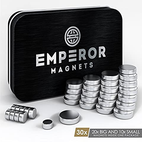 30X Cool, Strong Magnets for Home and Office (2 SIZES) – Fridge Magnets, Refrigerator Magnets, Whiteboard Magnets, Dry Erase Board Magnets, Small Magnets, Magnetic Fun, Round Magnet, Photo Magnet, Science Magnets, Neodymium Rare Earth, Craft,