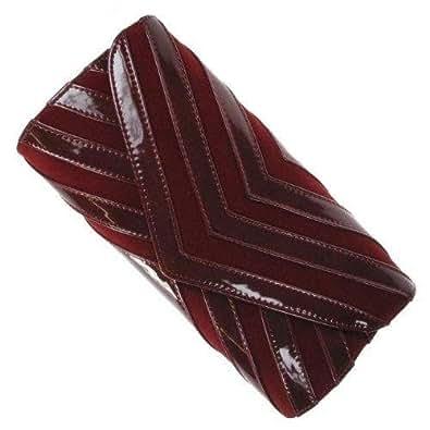 Maroon Velvet and Leatherette Envelope Clutch Bag Purse - Evening Handbag Fas...