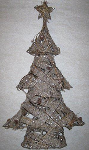 Country Christmas Weihnachtsbaum mit Sternenspitze, Glitzernde Jute, Miniatur Tannenzapfen (Miniatur Tannenzapfen)