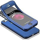 HICASER iPhone SE 360 Grad Hülle + Panzerglas, Komplettschutz Vorder und Rückseiten Schutz Schale Ganzkörper-Koffer Soft TPU Schutzhülle für iPhone 5 / 5s Blau