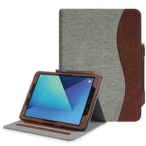 Fintie Hülle für Samsung Galaxy Tab S3 T820 / T825 (9,68 Zoll) Tablet - Multi-Winkel Betrachtung Kunstleder Schutzhülle Case Cover mit Dokumentschlitze und Auto Schlaf/Wach Funktion, Denim grau