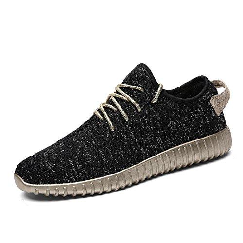 Hommes Chaussures de loisirs Respirant Lumière Appartement Accueil Chaussures décontractées Chaussures plates Black
