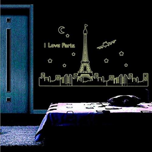 Ouneed® Enfant Lumineux Chambre Decor Stiker Noctilucent Autocollante (60cm*90cm, Paris)