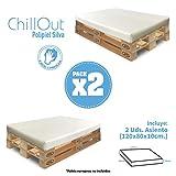 SuenosZzz-*Jardin-Asiento X2 Und de HR para palet. Enfundado en Polipiel Blanco. Exterior e...