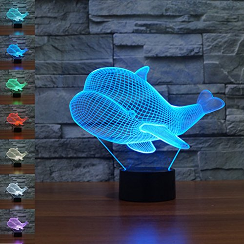 Ballena 3d Illusion óptico lámpara luz nocturna, jawell 7cambia de color Touch...