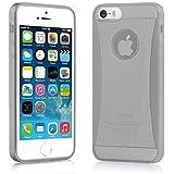 Elegante funda transparente, gel de silicona con lentejuelas, para iPhone 5 / 5S - Color Gris - NOVAGO ®