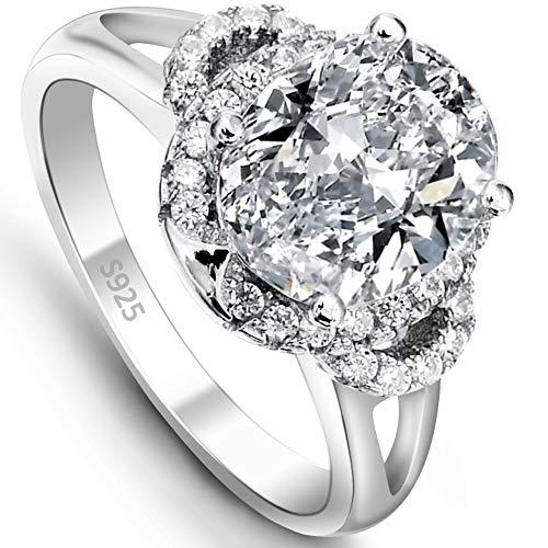 EVER FAITH® 925 Sterling Silber Vintage Stil Oval CZ Engagement Ring - Größe 54 (17.2) N06647-2