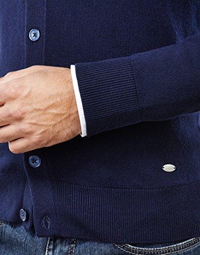 Vincenzo Boretti Herren-Strickjacke slim-fit tailliert Cardigan Strick-Pullover einfarbig Baumwolle-Mix edel elegant leicht Fein-Strick für Business oder Casual Dunkelblau