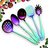 HOMQUEN Edelstahl Küchengerät Set - 5 Kochutensilien, Regenbogen Farbe Nonstick Küchengeräte Set, Bunte Titan Plated Kitchen Tools Gadgets