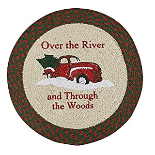 PKD Vintage Truck Round Rosy Red 15 x 15 Braided Cotton Fabric Christmas Placemat