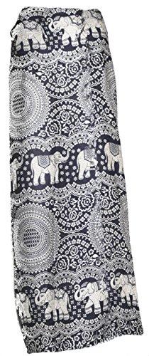 Damen Sarong Pareo Wickeln Rock Elefant Einheitsgröße Dunkelblau Circles