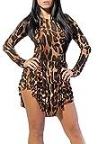 Frauen Abendmode Elegant Kurz Langarm Leopard Rundkragen Irregular Loose Plissee Schräg Stretch Gedruckt Muster Große Größen Prom Dress Kleid