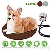 Cojín de Calefacción para Mascotas FOCHEA 15W Manta Eléctrica para Perros y Gatos con 7 Niveles de Temperatura Ajustable, 25~55℃, 2 Cubiertas de Muletón (Círculo D40cm)