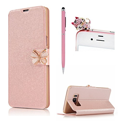 SKYXD für Samsung Galaxy S6 Hülle Leder 3D Bowknot Schnalle Roségold Scrub Flip Leder Wallet Matte Folio Handy Tasche [Magnet / Brieftasche Kartenfach / Standfunktion] für Samsung Galaxy S6 Bookstyle Case Cover with [Stylus and Dust Plug]