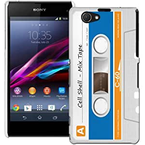 Sony Xperia Z1 Compact Hülle Hardcase (Harte Rückseite) Case Hülle Cover - Kassetten Muster Schutzhülle für Sony Xperia Z1 Compact Weiß