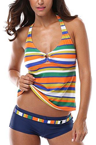 Charmleaks Damen Bunt Badeanzug Softschalen Neckholder Figurumspielendes Tankini Mit Hotpants Regenbogen Serie Orange 3XL
