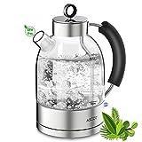Wasserkocher Glas Elektrische Teekocher Retro Glaswasserkocher Kettle ASCOT 1,6L auto off Doppelter Heizapparat BPA frei Lebensmittelqualität Glas 2200W [Upgraded]