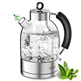 Wasserkocher Glas Elektrische Teekocher Retro Glaswasserkocher Kettle ASCOT 1,6L auto off Doppelter Heizapparat BPA...