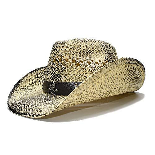 Sonnenhut Schwarz Retro Damen breitrandiger Strohhut Cowgirl Cowboy Westernhut Hohlledergürtel Hut (Farbe : 1, Größe : 56-58CM)
