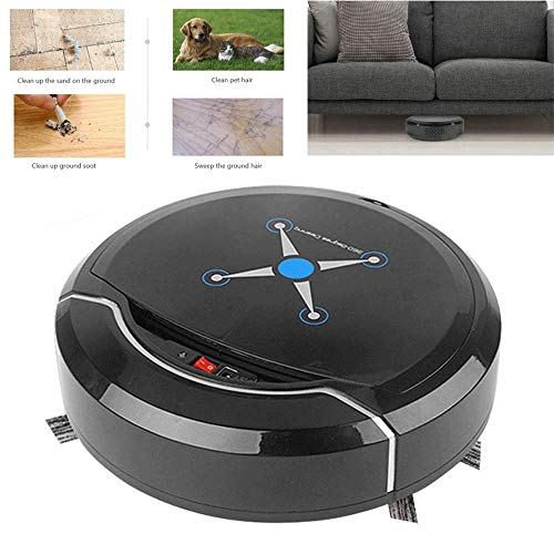 leaner, 9 Inch USB Rechargeable 360° Smart Sensor Robot Cleaner with Max Power Suction, Slim Design & Super Quiet Robotic Sweeper for Hard Floor Low Pile Carpet and Pet Hair ()