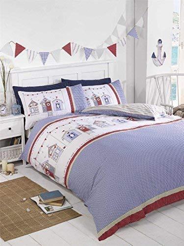 Strandhütten Gingham Blau Weiß Rot doppelte Baumwolle-Mischung Bettwäsche Tröster, (Blau, Tröster Weiß, Set)