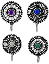 Anuradha Art Silver Oxidised Finish With Round Shape Multi Colour Combo Og Press On Nose Ring/Clip On For Women/Girls