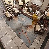 DAMENGXIANG Moderne Koi Fisch Abstrakt Teppich Für Wohnzimmer Couchtisch Schlafzimmer Rutschfeste Bodenmatte Wohnkultur Fuß Pad 70 × 180 cm