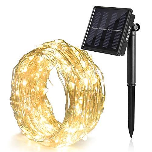 Ankway Aky12 - Luces LED Solares, 100 led, 8 Modos, Blanco Calido(Warm White)