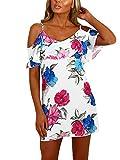 YOINS Sommerkleid Damen Sexy Tshirt Kleid Schulterfrei Tunika Kurzarm MiniKleid Strandkleid Blumenmuster Schulterfrei-Multi EU44