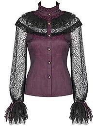 Punk Rave Donna Gothic Camicia Lunga Giacca Nera Vampiro