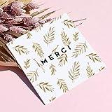 16 Cartes Remerciement avec 16 Enveloppes Bleues • Format 14x14 cm • Verso vierge pour écrire • Jungle Végétale Couleur Bronze Elégante et Originale • Popcarte...
