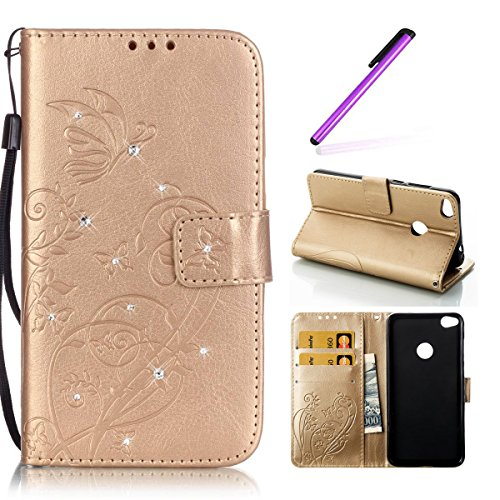 Huawei P8 Lite Hülle 2017,Huawei P8 Lite 2017 Hülle Leder,Huawei P8 Lite 2017 Hülle Silikon,EMAXELERS Huawei P8 Lite 2017 Hülle Flip Case Wallet Leder für Huawei Honor 8 Lite,Huawei P8 Lite 2017 Hülle Blumen,Huawei P8 Lite 2017 Hülle Bling Diamant Schmetterling Muster PU Leder Ledercase Flip Tasche Wallet Schutzhülle Etui Tasche Handytasche Hülle für Huawei P8 Lite 2017,Gold Butterfly with Diamond