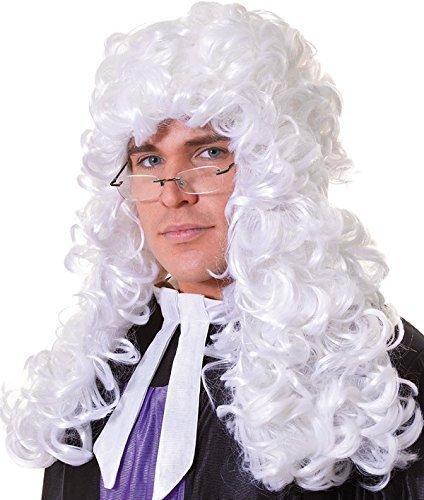 ween Party Richter Rechtsanwalt Lange Locken Künstliches Perücke Weiß (Richter Kleid Kostüm)
