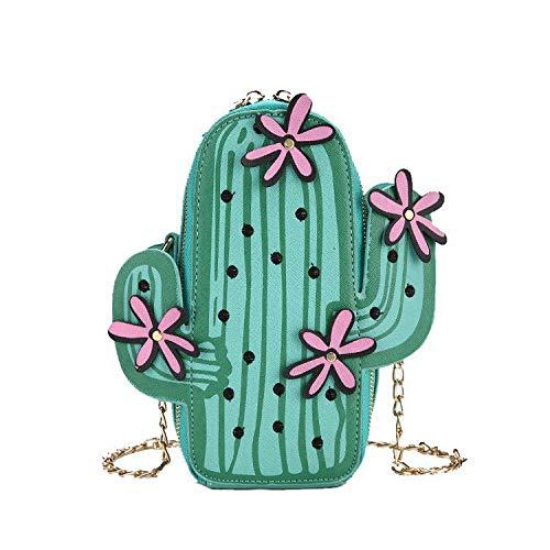 Werden & D Leder Schulter Tasche (XCXDX Frauen-Wassermelone-Kaktus-Form-PU-Leder-Minikreuz-Körper-Beutel-Nette Geldbeutel-Schulter-Ketten-Tasche,D)