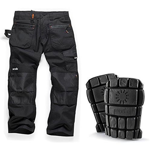 Scruffs Ripstop Trouser & Knee PAD Pack: Trade Hardwearing Work Trousers with Multiple Pockets & Knee Pad Pockets Black (Various Sizes) with Hardwearing Knee Pads